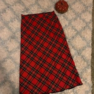 ❤️Willi Smith Wool Maxi Skirt 12 Red Plaid Italy❤️